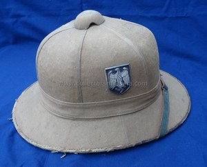 3480bca6bb23e This is a salty but nice first pattern WWII Afrika korps pith helmet. This  helmet was made by Werner Pause   Co. Berlin. Click on the picture below to  see ...