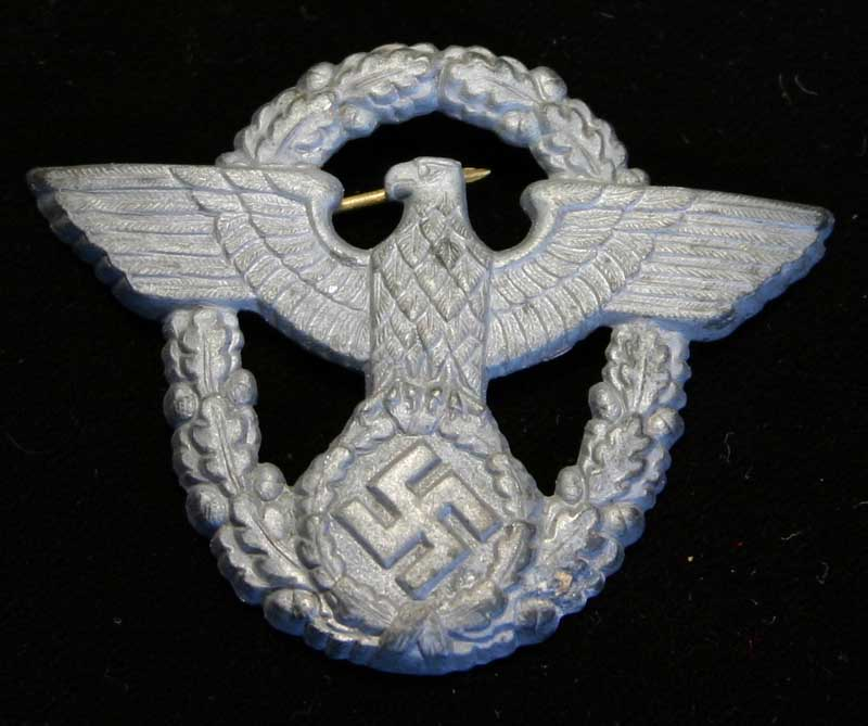 Early WWII German Police Cap Insignia With Brass Pins